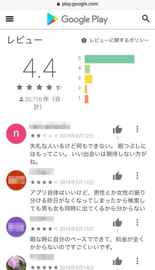 オルカのGoogle Play内評価