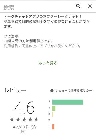 アフターシークレットのGoogle Play内評価