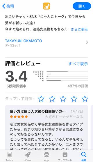 にゃんこトークのApp Store内アプリ評価