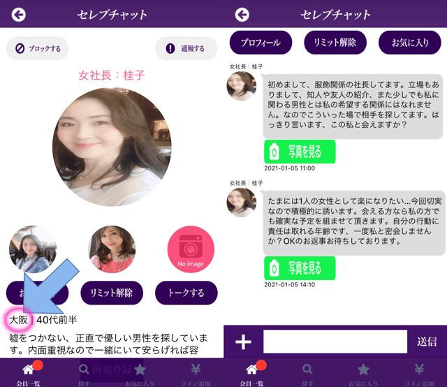 セレブチャットにて大阪に現れたサクラの「女社長:桂子」